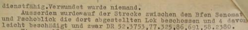 Hlášení o útoku u Senomat 16. dubna 1945